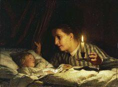 """""""Jovem Mãe Contemplando a Filha Adormecida"""" - Pintura a óleo de Albert Anker (1875)"""