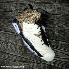 a41141d1e9fe1d Really Cheap Youth Big Boys Air Jordan 6 Pollito Jiminez Customs Metallic  Gold Black