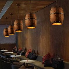 Country Bar, Ceiling Pendant, Pendant Lamp, Hanging Lights, Wall Lights, Solar Lights, Barrel Ceiling, Wine Barrel Furniture, Ideas