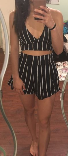 Stripe Surplice Bow Tie Open Back Crop Cami Top With ShortsFor Women-romwe