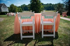 DIY coral & teal bride and groom wedding signs | Kim & Brandon's Offbeat, DIY Maryland Wedding at Woodlawn Manor | Images: Voula Trip Photography