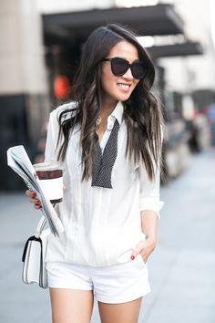 Menswear Monday :: Bow tie blouse & Stella McCartney oxfords :: Outfit ::  Top :: Marissa Webb Bottom :: Zara  Shoes :: Stella McCartney  Bag :: Celine Accessories :: Karen Walker sunglasses Published: June 20, 2016