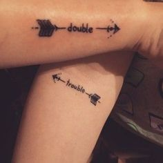 For all siblings: matching tattoo ideas that are more than awesome! - The perfect matching tattoo for siblings - Twin Tattoos, Sibling Tattoos, Paar Tattoos, Tatuajes Tattoos, Body Art Tattoos, Sleeve Tattoos, Partner Tattoos, Tattoos For Twins, Arrow Tattoos