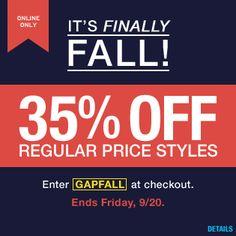 gap online its finally fall 35 off regular price styles enter gapfall printable couponsgap