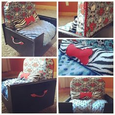 Finally!, dog beds are have style! Bed by Happy Day Hounds (Happy Day Vintage) #refurbished #upcycled #dogbed #dogs