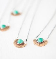Laurel Hill for Mavenhaus Collective Mini Arc Polished Bronze Necklace with Amazonite Stone - Mavenhaus Collective