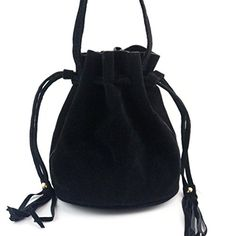 XUANOU Women Tassel Drawstring Handbag Scrub PU Large Tote Shoulder Bag (Black) -- Find out @