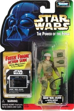 STAR WARS : Costumes and Toys : Star Wars Action Figure - Endor Rebel Soldier - with Survival Back Pack and Blaster Rifle - Freeze Frame Action Slide - POTFG