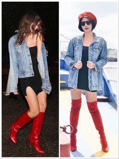 #redthighhighboots #redotkboots #redberet #oversizeddenimjacket #lbd #littleblackdress #emrata #emilyratajkowski #casuallook #streetstyle #redblackanddenim