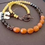 orange aventurine yellow jade smoky quartz necklace