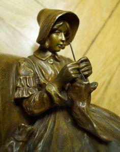 Friedrich Gornik, Strickende, Bronze, signiert