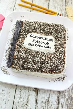 I can't handle how CUTE this Back to School Composition Notebook cake is! Rice Krispy + goodies = perfection!!
