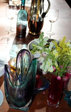 Lazy lunch......vintage glass.....flowers from the garden