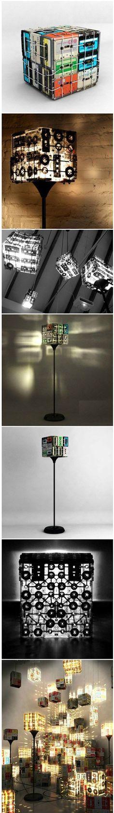 Selbstgemacht Lampen aus Musikkassetten
