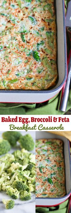 Baked Egg, Broccoli and Feta Breakfast Casserole…An easy vegetarian brunch (or dinner) recipe with a make-ahead option! 112 calories and 3 Weight Watchers PP | cookincanuck.com #vegetarian