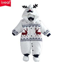 Newborn Christmas Deer Baby Boy Warm Infant Romper Kid Jumpsuit Hooded Infant Clothes Outfit Winter Baby Clothing(China (Mainland))