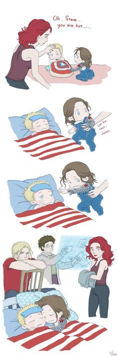 """I must to back to work... my boss will kill me... This is """"when Steve and Bucky become babies""""... I will draw this comic story XD First I must working...sad... I will be back after May.15"""