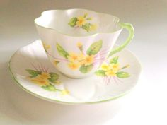 Primrose Shelley Tea Cup and Saucer, Antique Dainty Style Shelley Cups, Bone China