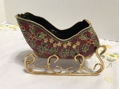 NYCO Sleigh - Nicki Yassaman - Enameled Cloisonne - Holly Leaves and Berries