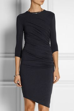 Helmut Lang's stretch-jersey dress will work for evenings out and business meetings alike. Designed for a close fit, it's shaped by well-placed ruching and lined for comfort. Emphasize the asymmetric hem with bare legs.