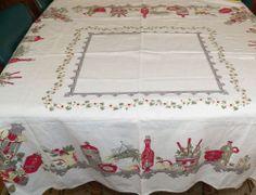 "Vintage Tablecloth 48"" x 52"" Red Green Gray Yellow Kitchen Shelf Design on White"