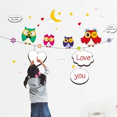 ehome nursery kids wall stickers owls diy home decor wallpaper for bedroom removable vinyl decals