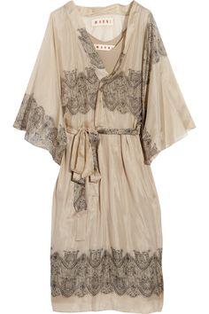 MARNI Layered Printed Silk-Chiffon Dress
