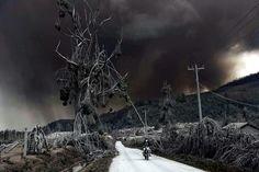 Mount Sinabung Volcano, in Karo, Indonesia.