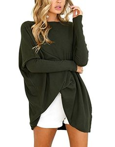 CoCo Fashion Women's O-Neck Bat Sleeve Oversized Blouse Tops T-Shirt (Large, Arm Green)