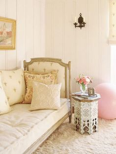 French daybed & Moroccan table in pastels