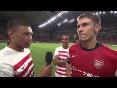 Taking the mic: Oxlade-Chamberlain and Walcott rib Arsenal team-mate Ramsey for lack of pace as they hijack interview Arsenal Players, Arsenal Football, Arsenal Fc, Nagoya Grampus, Theo Walcott, North London, All Smiles, One Team, Arsenal F.c.