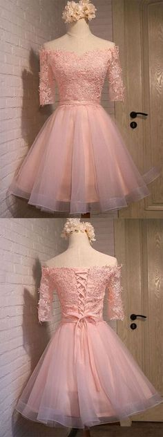 Glamorous A-line Off-the-shoulder Short/Mini Coral Organza Short Sleeves Homecoming Dress With Appliques
