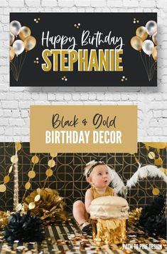 This black and gold themed birthday banner is perfect to celebrate a girls first birthday! The personalized party banner makes the perfect decoration at your girls first birthday party Horse Birthday Parties, Birthday Yard Signs, Girl First Birthday, Birthday Party Invitations, Birthday Ideas, Personalized Birthday Banners, Happy Birthday Banners, Happy Birthday Stephanie, Horse Party Decorations