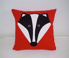 Mr Badger Cushion  Hand Painted by DizzyMissJames on Etsy, £20.00