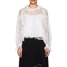 Jourden Women's Lace Ruffle Blouse ($640) ❤ liked on Polyvore featuring tops, blouses, white, white ruffle blouse, white ruffle top, white floral top, white lace top and white floral blouse