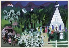 """Church Wedding – White    SIZE: 20"""" w x 14"""" h  ORIGINAL MEDIUM:  Gouache     This romantic depiction of a country wedding was done for a Coronet magazine cover in the mid-1950s."""