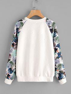 Sweatshirt mit Tropenmuster und Raglanärmeln - German SheIn(Sheinside)