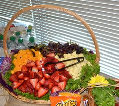 Fruit and cheese baskets for your party or office lunch baggin-s-catering Camping Meals, Camping Recipes, Cheese Baskets, Gourmet Sandwiches, Mothers Day Brunch, Lunches And Dinners, Food Art, Appetizers, Party Ideas