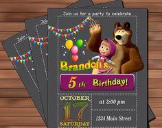 Masha y el oso de cumpleaños partido invitación imprimible