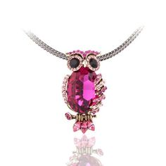 Blue Pearls - Fuschia Swarovski Crystal Elements Owl Necklace and Gold Plated Mounting - CRY D211 B -- Want to know more, click on the image.