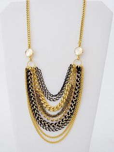 Zzan Jewelry Long Multi Chain Drop Necklace with a touch of sparkle