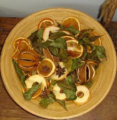 I like to add potpourri and seasonal objects to bowls and baskets for seasonal color and good smells.