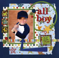 love the arrow, tabs, circle frame. Layout: All Boy