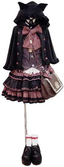 I like this emo lolita dress Harajuku Fashion, Kawaii Fashion, Cute Fashion, Asian Fashion, Tokyo Fashion, Trendy Fashion, Style Fashion, Fashion Ideas, Estilo Lolita
