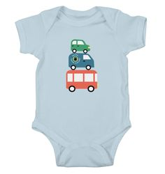 This is how the stacked vehicles look on babies clothes!