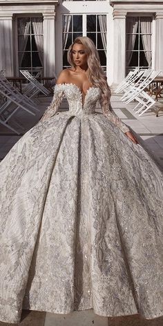 Off The Shoulder Wedding Dresses To See ★ off the shoulder wedding dresses ball gown with sleeves sequins saidmhamadofficial Source by katiadph dresses sequin Fancy Wedding Dresses, Evening Dresses For Weddings, Princess Wedding Dresses, Bridal Dresses, Luxury Wedding Dress, Gorgeous Wedding Dress, Quince Dresses, Ball Dresses, Ball Gowns