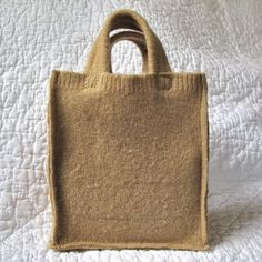 Felted wool shopping bag will get double duty as a lunch bag/toy hauler/treasure-keeper/etc. in this house, I think! Kid N Play, Paper Grocery Bags, Crayon Holder, Owl Fabric, Recycled Sweaters, Old Sweater, Brown Bags, Wool Felt, Felted Wool