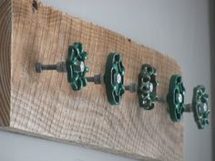 Something to do with all the knobs I have.  Rustic Coat Hanger with 5 Mixed Green by ciaobellacollections, $79.00