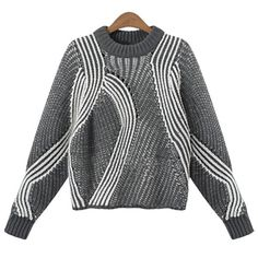 Attractive Stand Collar Abstract Print Long Sleeve Pullover Sweater For Women