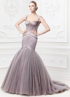 """How stunning is the new Truly Zac Posen collection for David's Bridal? This dramatic satin fit and flare gown with corset seaming is in a unique color called """"portobello"""" and features beautiful crystal details. Colored Wedding Gowns, White Wedding Gowns, Wedding Dresses Photos, Wedding Dress Styles, Designer Wedding Dresses, Mauve Wedding, Wedding Attire, Davids Bridal Dresses, Bridal Gowns"""